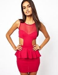 Oh my love cerise peplum dress with cut out product 1 14124207 260996488