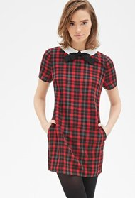 Red slash black forever21 contrast collar plaid shift dress screen