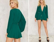 Give a cinch plunging romper 70933