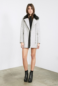 Forever21 faux fur collared zippered coat 1