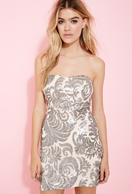 Forever21 baroque sequined strapless dress 1