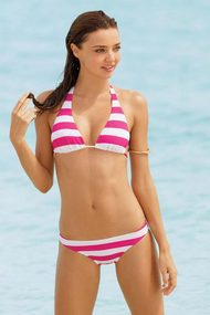 Miranda kerr in a pink and white stripe bikini