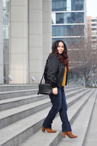 Bomber jacket monday outfit hm sweater bow blogger mexicana dafiti vieresa prune plus size fashion santiago moda