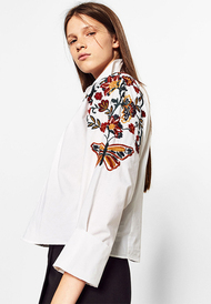 Susandick new spring butterfly flower embroidered white shirt tops brief all match casual cotton blouse office